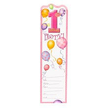 Pink Balloons 1st Birthday Invitations, 8ct