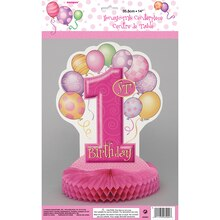 "Honeycomb Pink Balloons 1st Birthday Decoration, 14"", Package"