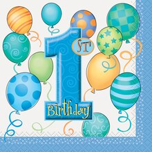 Blue Balloons 1st Birthday Beverage Napkins, 16ct