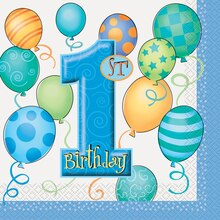 Blue Balloons 1st Birthday Luncheon Napkins, 16ct