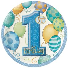 "9"" Blue Balloons 1st Birthday Dinner Plates, 8ct"