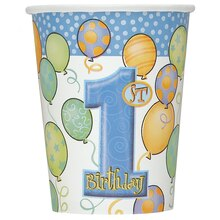9oz Blue Balloons 1st Birthday Paper Cups, 8ct