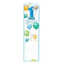Blue Balloons 1st Birthday Invitations, 8ct