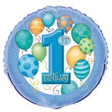 Foil Blue Balloons 1st Birthday Balloon, 18""