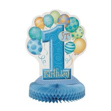 Honeycomb Blue Balloons 1st Birthday Decoration, 14""