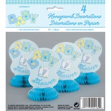 "Mini 6"" Honeycomb Blue Cute as a Button Baby Shower Decorations, 4ct, Package"
