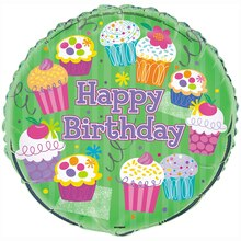 Foil Cupcake Party Birthday Balloon, 18""