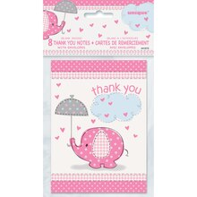 Pink Elephant Baby Shower Thank You Notes, 8ct, Package