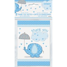 Blue Elephant Baby Shower Thank You Notes, 8ct, medium