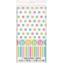 "Plastic Pastel Baby Shower Table Cover, 84"" x 54"""
