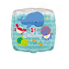 "18"" Square Foil Under The Sea 1st Birthday Balloon"