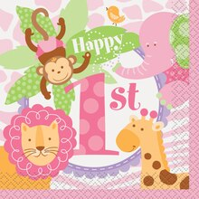 Pink Safari 1st Birthday Beverage Napkins, 24ct