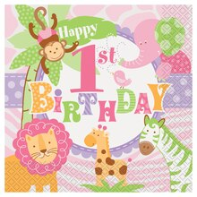 Pink Safari 1st Birthday Luncheon Napkins, 20ct