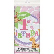 "Plastic Pink Safari 1st Birthday Table Cover, 84"" x 54"""