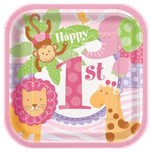 "7"" Square Pink Safari 1st Birthday Dessert Plates, 10ct"