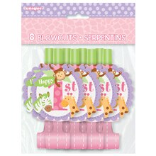 Pink Safari 1st Birthday Party Blowers, 8ct