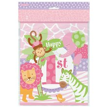 Pink Safari 1st Birthday Favor Bags, 8ct