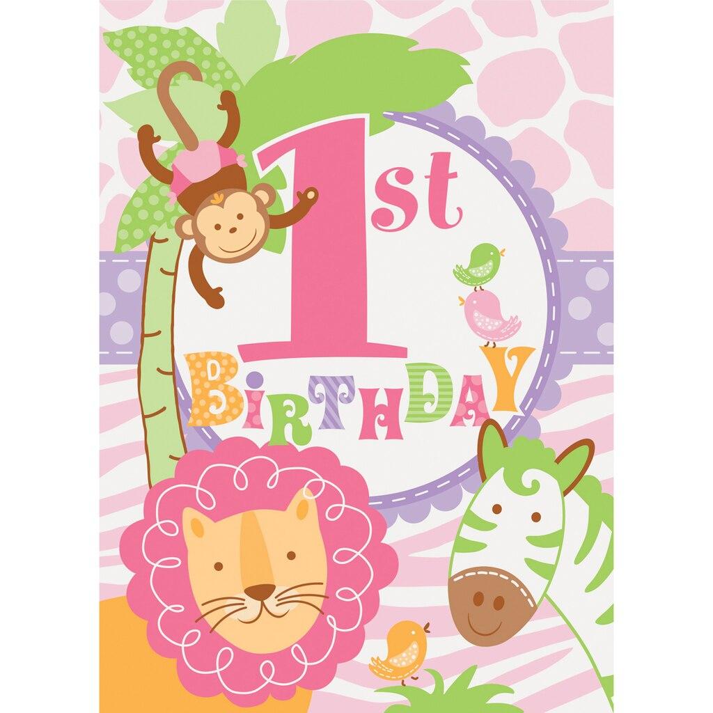 Pink Safari 1st Birthday Invitations