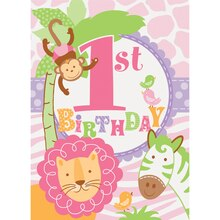 Pink Safari 1st Birthday Invitations, 8ct