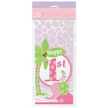 Pink Safari 1st Birthday Cellophane Bags, 20ct