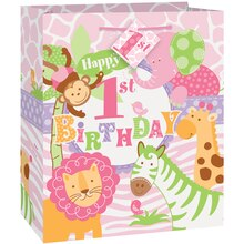 Medium Pink Safari 1st Birthday Gift Bag