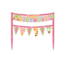 Pink Safari 1st Birthday Cake Bunting Topper