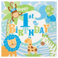 Blue Safari 1st Birthday Luncheon Napkins, 20ct