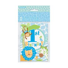 Blue Safari 1st Birthday Invitations, 8ct