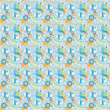 Blue Safari 1st Birthday Wrapping Paper