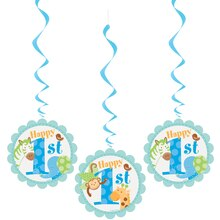 "32"" Hanging Blue Safari 1st Birthday Decorations, 3ct"