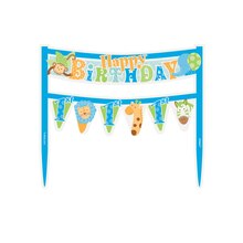 Blue Safari 1st Birthday Cake Bunting Topper