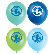 "12"" Latex Blue Safari 1st Birthday Balloons, 8ct"