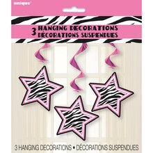 Hanging Zebra Print Decorations, 3ct, Package