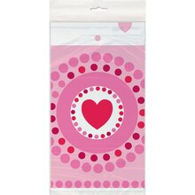 "Plastic Radiant Hearts Valentine Table Cover, 84"" x 54"""