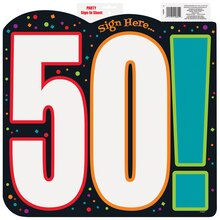 Paper Cut Out 50th Birthday Cheer Sign In Sheet Decoration