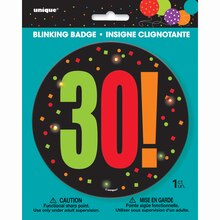 Birthday Cheer 30th Birthday Blinking Badge