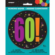 Birthday Cheer 60th Birthday Blinking Badge