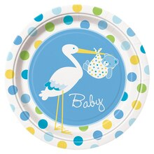 "9"" Blue Stork Baby Shower Dinner Plates, 8ct"