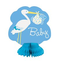 "Mini 6"" Honeycomb Blue Stork Baby Shower Decorations"