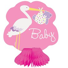 "Mini 6"" Honeycomb Pink Stork Baby Shower Decorations"