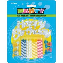 Striped Birthday Candles and Happy Birthday Cake Decoration, 25pc