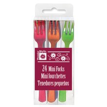 Mini Plastic Forks, Assorted 24ct