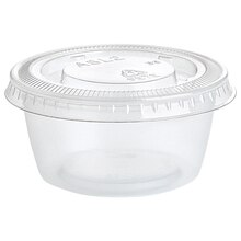 Clear Plastic Condiment Cups with Lids, 25ct