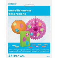 Paper Summer Party Embellishments, 24ct