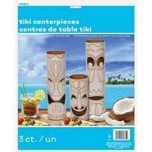 Paper Tiki Totem Pole Luau Centerpiece Decorations, 3ct, Package