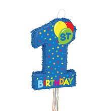 Blue 1st Birthday Pinata, Pull String