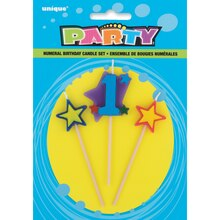 Stars and Number 1 Birthday Candle Set, 3pc