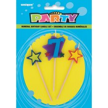 Stars and Number 7 Birthday Candle Set, 3pc
