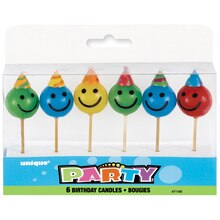 Happy Face Birthday Candles, 6ct