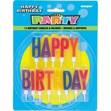 Letter Happy Birthday Candles with Holders, 13ct